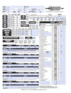 D&D 3.5 Character Sheet PDF Files