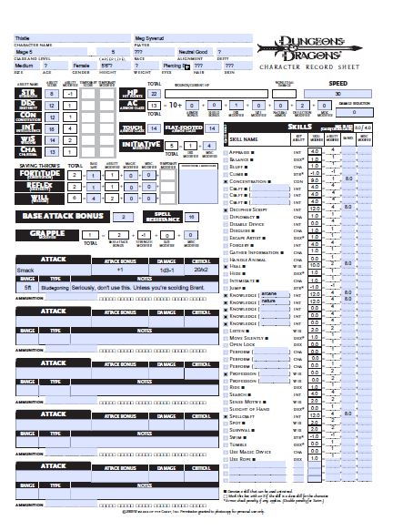 image relating to Printable Dungeons and Dragons Character Sheet identify DD 3.5 Individuality Sheet PDF Documents - Dungeons and Dragons
