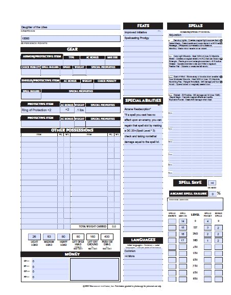 D&D 3.5 Character Sheet Fillable