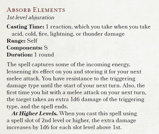 Absorb Elements 5E D&D