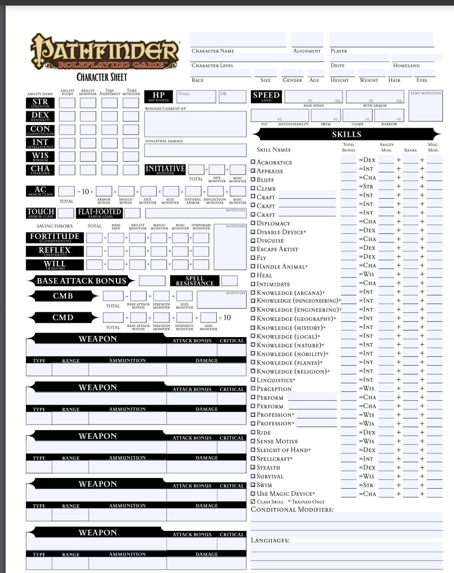 Pathfinder Character Sheet PDF Free Download